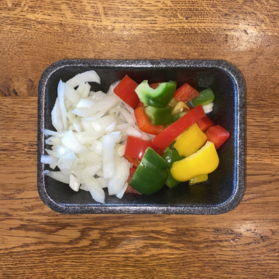 Diced Peppers & Chopped Onion